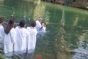 Dopen in de rivier de Jordaan