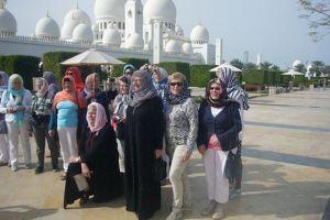 de dames bij de moskee